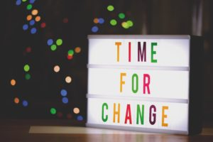Neon sign saying time for change